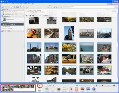 Picasa: Bilder in der Zwischenablage sammeln