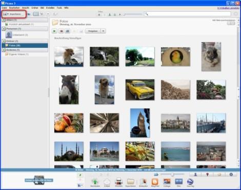 Picasa: Bilder in die Bibliothek importieren