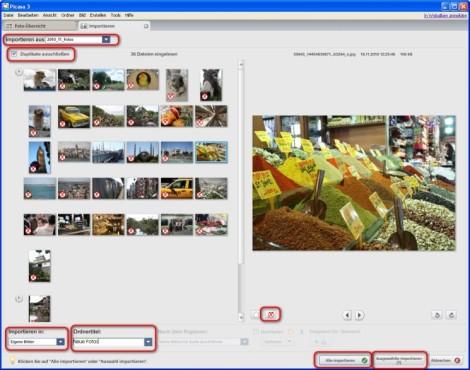 Picasa: Fotos auswählen und Zielverzeichnis festlegen