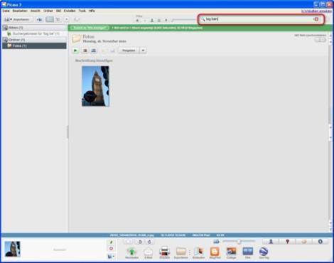 Picasa: Fotos über die Suchfunktion finden
