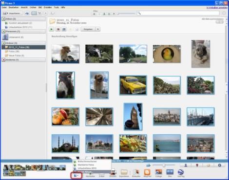 Picasa: Gesammelte Bilder für ein neues Album verwenden