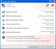 TuneUp Utilities: Die �1-Klick-Wartung� durchsucht systematisch Ihren kompletten PC nach St�renfrieden.
