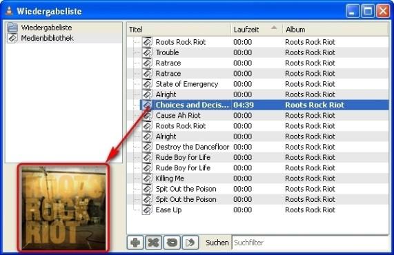 VLC Media Player: Anzeige des CD-Covers zum aktuellen Titel
