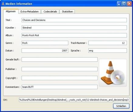 VLC Media Player: Informationen zum Titel anzeigen lassen