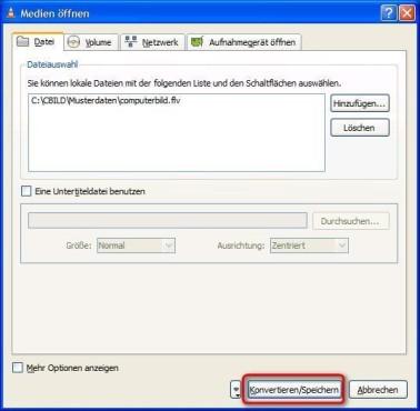 VLC Media Player: Speicherort für konvertierte Videodatei wählen