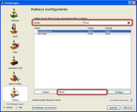 VLC Media Player: Tastaturkürzel anzeigen lassen