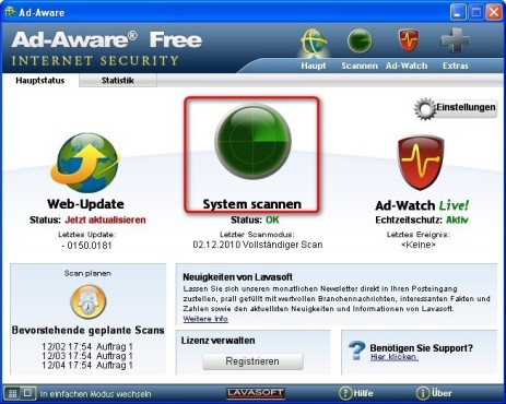 Ad-Aware: System scannen