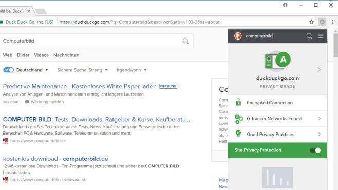 DuckDuckGo für Chrome: Diskrete Google-Alternative ©COMPUTER BILD