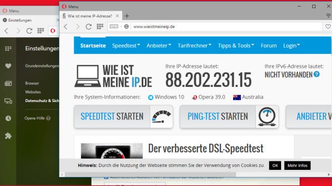 Opera: Browser mit VPN ohne Limit ©COMPUTER BILD