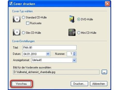 CDBurnerXP: Vorschau des Covers aufrufen
