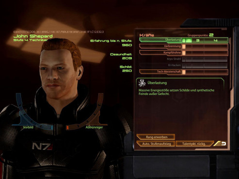 Komplettl�sung Mass Effect 2: Punkteverteilung