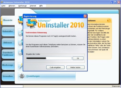 Ashampoo UnInstaller: Software als Vollversion freischalten