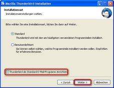 Thunderbird: Installationseinstellungen vornehmen