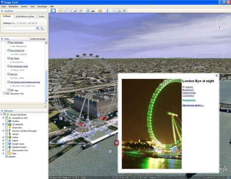 Google Earth: Informationen und Fotos zum London Eye abrufen