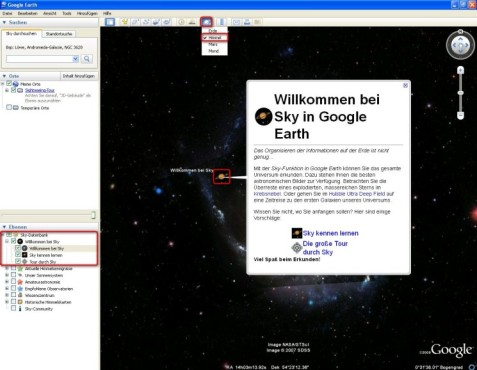 "Google Earth: Interaktives Planetarium ""Google Sky"" starten"
