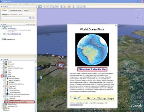 Google Earth: Historische Karte von Marie Tharp