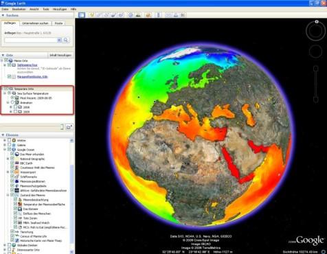 Google Earth: Temperatur der Meeresoberfl�che einblenden