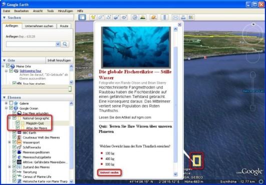 Google Earth: Unterwasser-Quiz spielen