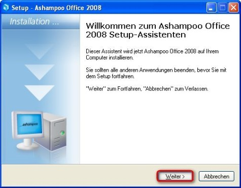 Ashampoo Office 2008: Installation beginnen