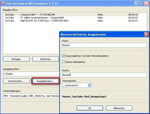 Free YouTube to MP3 Converter: Dateiname eingeben