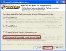 """Winamp: Das """"eMusic""""-Plugin können Sie vor Beginn des Kopiervorgangs deaktivieren."""