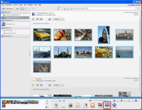 Picasa: Fotos für die Diashow auswählen