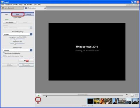 Picasa: Textfolien einfügen und Reihenfolge der Bilder ändern