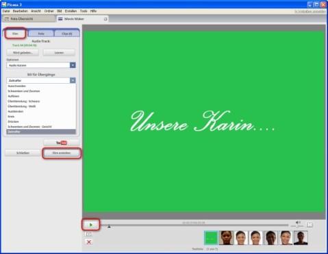 Picasa: Übergänge und Hintergrundmusik integrieren