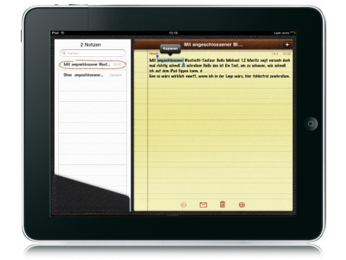 Copy & Paste mit dem iPad © Apple