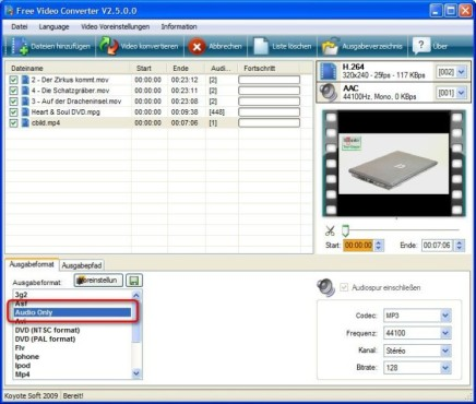 Free Video Converter: Audiospur exportieren