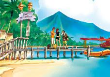 Runaway 2 - The Dream of the Turtle Gina und Brian mieten sich ein Wasserflugzeug um die Inselwelt der Südsee zu erkunden.