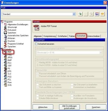 PDFCreator: Dokumente verschl�sseln