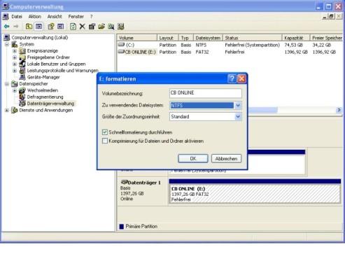In NTFS formatieren ©COMPUTER BILD