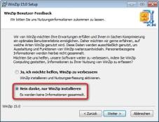 WinZip: Auf die Übermittlung von Nutzerdaten an den Hersteller können Sie verzichten.