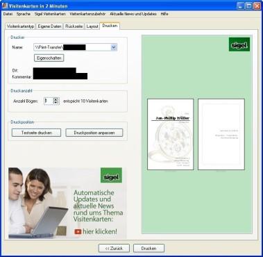 Visitenkarten in 2 Minuten: Druckoptionen anpassen