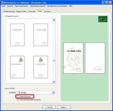 Visitenkarten in 2 Minuten: Linien ein- und ausblenden