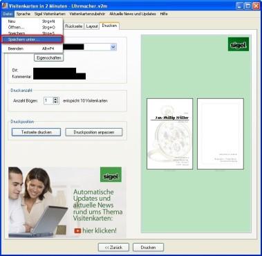 Visitenkarten in 2 Minuten: Visitenkarte speichern
