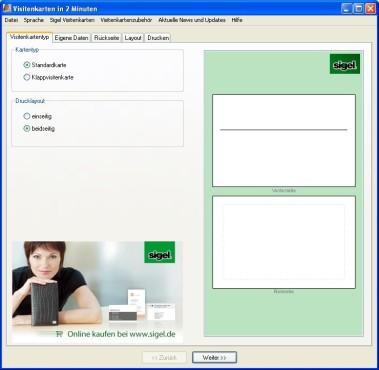 Visitenkarten in 2 Minuten: Visitenkartentyp festlegen