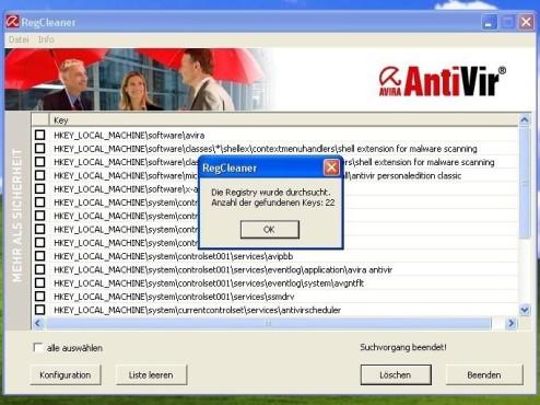 Avira AntiVir RegistryCleaner ©Screenshot
