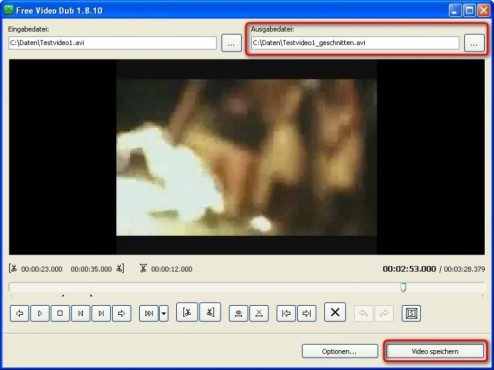 Free Video Dub: Ver�ndertes Video abspeichern