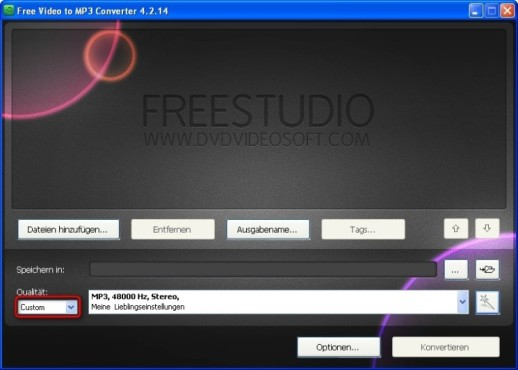 Free Video to MP3 Converter: Eigene Voreinstellung abrufen
