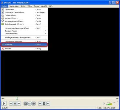 VLC Media Player: Film zur Übermittlung freigeben