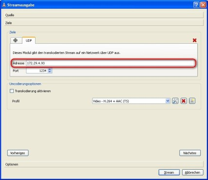VLC Media Player: IP-Adresse angeben
