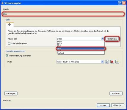VLC Media Player: Stream-Ausgabe konfigurieren