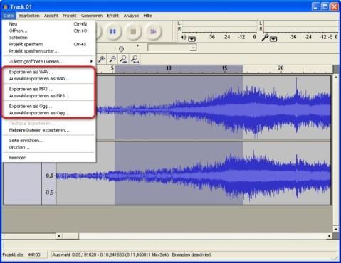 Audacity: Audio-Dateien in andere Formate konvertieren