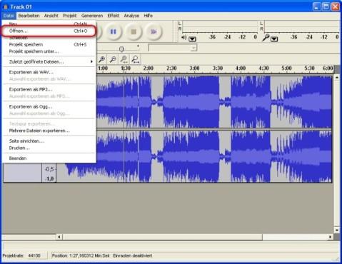 Audacity: Audiodatei öffnen und abspielen