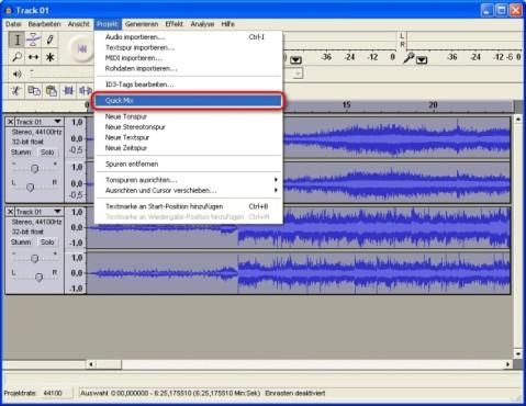 Audacity: Mehrere Audio-Spuren auf eine einzelne Spur reduzieren