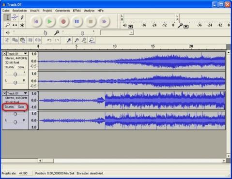 Audacity: Mehrere Audio-Spuren mischen