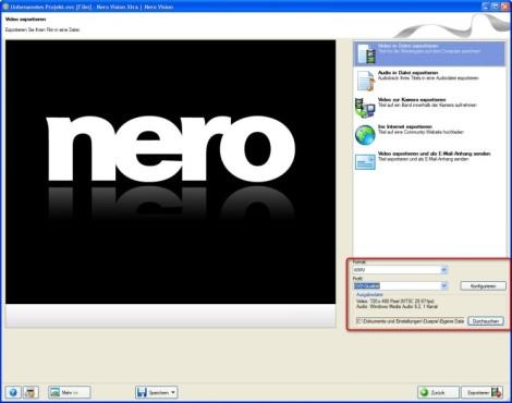 Nero: Videoformat festlegen