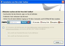 Nero: Installation der Toolbar unterbinden